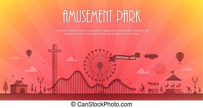 公園, 現代, -, イラスト, ベクトル, 場所, テキスト, 娯楽