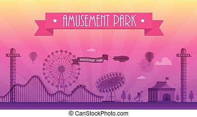公園, 現代, -, イラスト, ベクトル, 娯楽