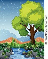 公園, 現場, 中に, 雨, 季節