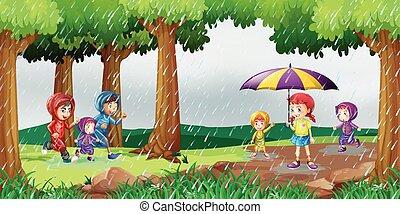 公園, 現場, 雨, 子供