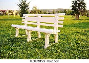 公園, 白, 人々, 椅子, いいえ