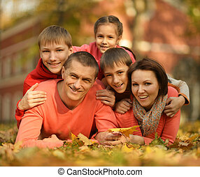 公園, 秋, 家族