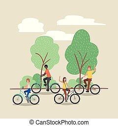 公園, 自転車, グループ, 人々