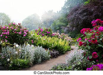 公園, 花, 朝, 芸術, 英語