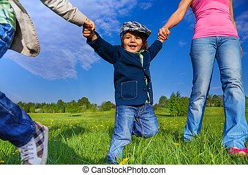 公園, 親, 手を持つ, 幸せ, 子供