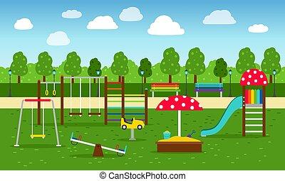 公園, 運動場, 背景