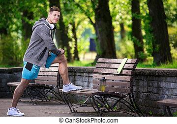 公園, 運動, 人