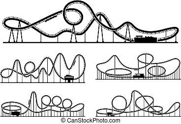 公園, 隔離しなさい, イラスト, バックグラウンド。, シルエット, ベクトル, rollercoaster, 白, 娯楽