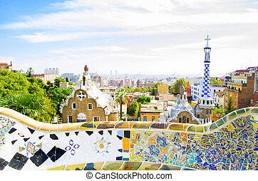 公園, guell, スペイン, バルセロナ