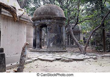 公園, kolkata, 墓地, 通り, インド