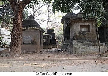 公園, kolkata, 通り, 墓地, インド
