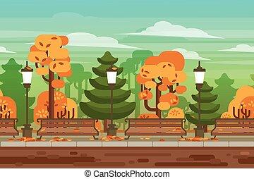 公園, seamless, 秋天, 游戲, 背景, 風景