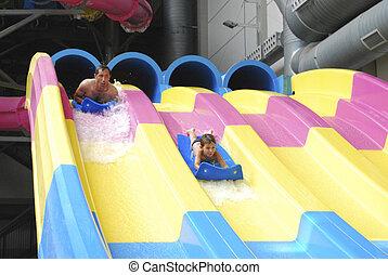 公園, slides., 父, 息子, 水, 乗馬