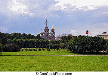 公園, st-petersburg, 血, 救助者, 教会, russia.