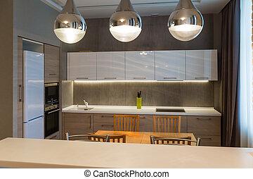 公寓, 現代, 豪華, 內部, 新的家, 廚房