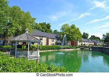 公寓, 社區, 由于, 池塘