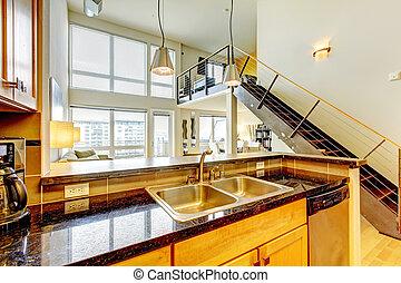公寓, 阁楼, staircase., 现代, 树木, 厨房