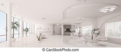 公寓, render, 全景, 內部, 白色, 3d
