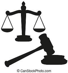 公正的規模, 以及, 木槌
