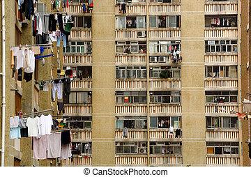 公衆, ブロック, アパート, 陶磁器, kong, hong