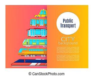 公衆, 市街電車, 都市, ミニバス, バス, 輸送, 含む, タクシー, ベクトル, ポスター, 漫画, illustration.
