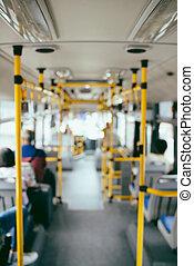 公衆, transportation., ぼやけ, イメージ, の, 内部, の, 現代, 都市バス