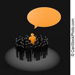 公言する, から, ∥, 群集