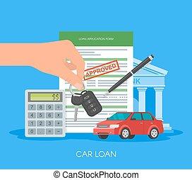 公認, 自動車ローン, ベクトル, illustration., 購入, 自動車, concept., 手の 保有物, キー