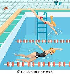公開  游泳池, 裡面, 由于, 藍色, water., 年輕婦女, 在, 運動, 游泳衣, 游泳, 在, the, pool., 套間, 卡通, 矢量, 插圖