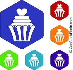 六角形, セット, 愛, cupcake, アイコン