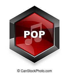 六角形, ポンとはじけなさい, 背景, 現代, 音楽, アイコン, デザイン, 赤, 3d, 白