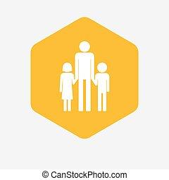 六角形, 家族, 親, pictogram, 隔離された, 単一, マレ