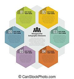 六角形, 平ら, infographic, 要素