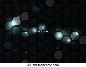 六角形, 黒, eps10, 背景