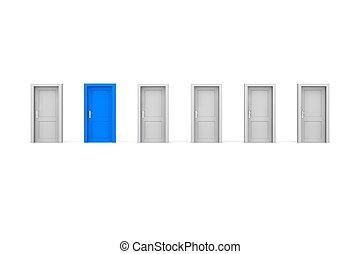 六, 門, 一, 藍色
