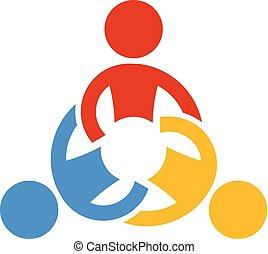 共同で行なう, 人々。, ベクトル, チームワーク, ロゴ