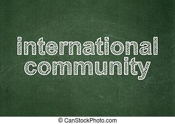 共同体, 黒板, 背景, 政治, インターナショナル, concept: