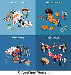 共同, 概念, チームワーク, セット, アイコン