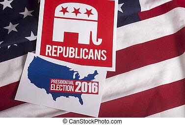 共和党員, 選挙, 投票, そして, アメリカの旗