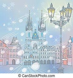 共和国, 広場, 古い, 冬, ベクトル, プラハ, 町, チェコ