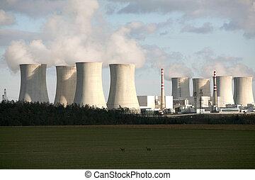 共和国, dukovany, 原子力, チェコ, 植物