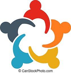 共有, グループ, ビジネス 人々, 人々。, イラスト, ideas., ロゴ, ミーティング