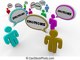 共有, グループ, 人々, 分け前, 感情, 感情, 療法, イラスト, 3d
