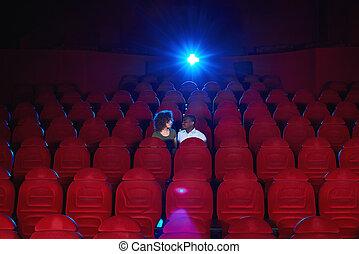 共有, ロマンチック, 映画館, 恋人, 若い, 瞬間, 情事