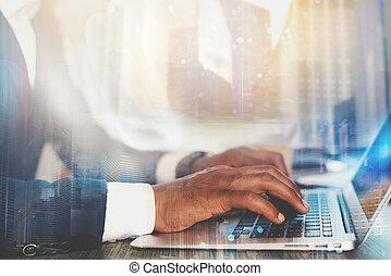 共有, 仕事, laptop., 概念, 相互連結, インターネット, 人