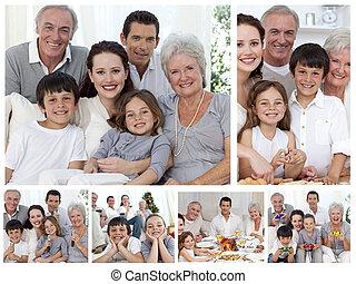 共有, 家族, コラージュ, h, 一緒に, 瞬間, 楽しむ, そっくりそのまま