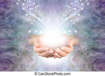 共鳴, エネルギー, 発送, 治癒, 高く