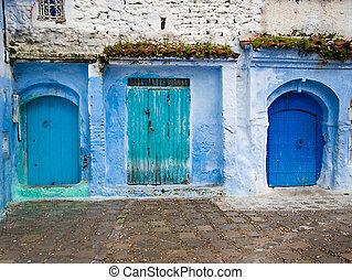 关于建筑的细节, 同时,, 门口, 在中, 摩洛哥