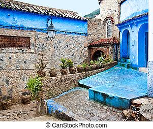 关于建筑的细节, 同时,, 门口, 在中, 摩洛哥, chefchaouen
