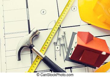 关闭, 在中, 房子, 蓝图, 带, 建筑物, 工具